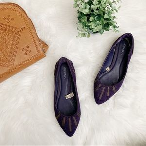Purple Zipper Detail Pointed Flats